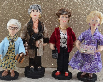 The Cast of Golden Girls- Celebrity Art- Doll Miniature Set - Eighties Television- Funny Women