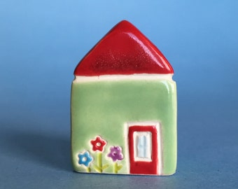 Little flower House Collectible Ceramic Miniature Clay House red green