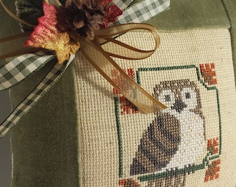 Owl Pillow Vintage Primitive Rustic Folk Art Green Velvet Ticking Cross Stitch Vintage Millinery Florals Harvest Autumn Fall Decoration