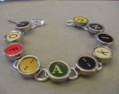 Typewriter key Bracelet   Spells 1 of A KIND  Rare RED Colorful Typewriter key Jewelry