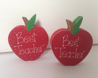 Free Standing Wooden Apple  -Teacher gift - Ready to post