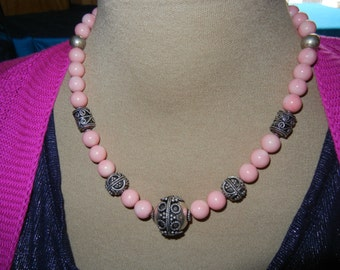 Suit Jewelry!  Pink Coral Necklace Set N52