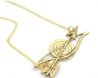 ON SALE Bow and Arrow Necklace, Bow and Arrow Gold Necklace, Bullseye Necklace