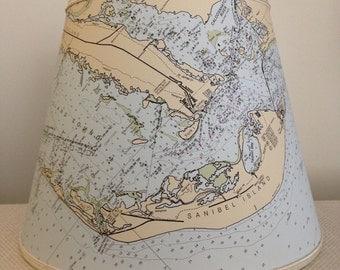 Nautical Chart Lampshade-Sanibel Island-Florida-Chart Lampshade-Sanibel Island Lampshade-Nautical Chart-Lighting-Lamp Shade-Beach Living