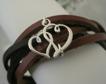 Enchanting Silver Love You Hearts Braided leather Bracelet Cuff