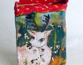 tall ceramic vase deer in woods teal brown red Bambi in forest stunning art vase