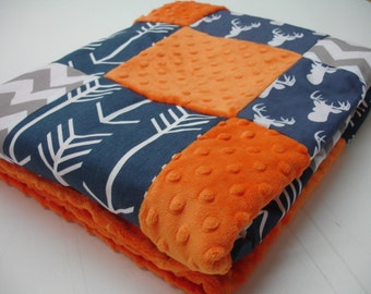 Navy Deer Head and Arrows with Gray and Orange Minky Blanket You Choose Size and Minky Color MADE TO ORDER No Batting