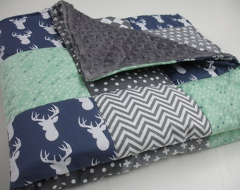 Gentle Deer Mint Navy Gray Arrows Minky Blanket You Choose Size and Minky Color  MADE TO ORDER No Batting