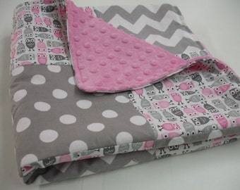 Owl Medley Pink with Gray Chevron and Dots Minky Patchwork Blanket You Choose Size and Minky Color MADE TO ORDER No Batting