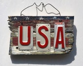 American Flag - USA - Folk Art - Recycled Art - License Plate Art - Barnwood Art - Rustic Sign - Primitive Sign