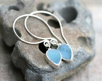 Sky Blue Druzy Crystal Tear Drops, Medium Handmade Sterling Silver Hoop Earrings, Bohemian, Blue Agate Gemstone Earrings