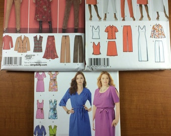 Simplicity 2287 4992 1796 Lot of 3 Sewing Patterns Sizes 20-22-24-26-28  Design Your Own skirts dresses and tops
