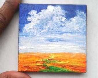 "Mini Oil Painting Landscape Orange Flower Fields 3""x 3"" READY to SHIP"