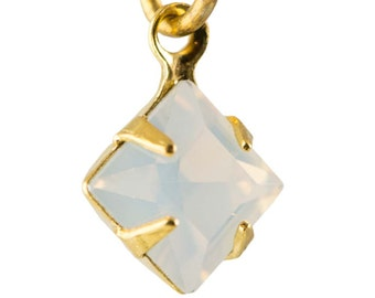 White Opal Faceted Square Glass Stones in 1 Loop Gold Setting 6mm squ006RR