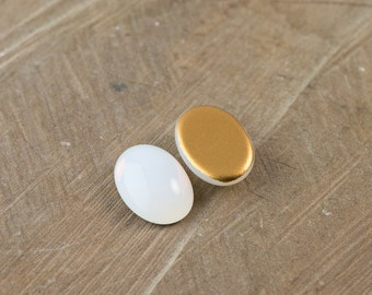 White Glass Opal Oval Cabochon 18X13mm (2) cab440W