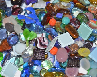 15lbs+ Assortment of Glass Gems Shapes and Tiles