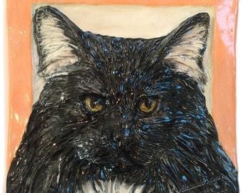 Longhair Cat Tile CERAMIC Portrait Sculpture 3d Art Tile Plaque FUNCTIONAL ART by Sondra Alexander In Stock