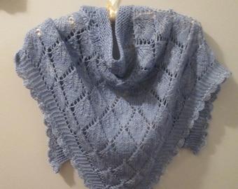 Wedgewood Blues Hand-knit Shawlette
