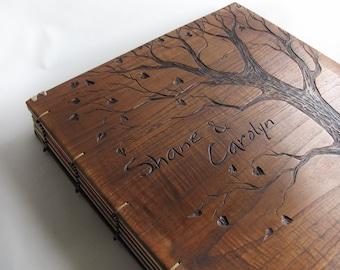 Personalized wedding album Reclaimed wood Unique art books