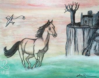 Retablo Folk Art -  Proceeds Benefit Animal Rescue, Dreamscape, Horse in the Ocean, Castle on a Cliff, Bird in Flight, Tree, Mixed-Media