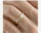 Valentines Day Sale 14k Gold Small Leaf Ring   Stacking Ring   Nature Inspired Ring