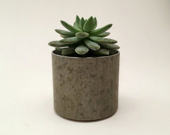 Modern Planter Recycled Metal Planter, Metal Succulent Planter, Small Round Planter Pot