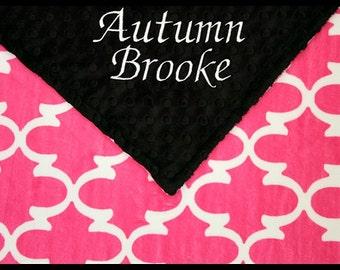 Baby Girl Blanket~Girls Blankets~Quatrefoil Minky Lovey~Personalized Baby Girl Blanket~Fuchsia and Black Nursery~Monogrammed Baby Present~