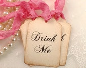 Pink Drink Me Tags Alice In Wonderland Party Favor Tags Set of 10