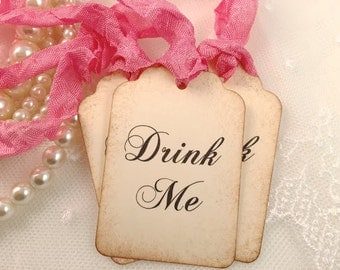 Pink Drink Me Tags Alice In Wonderland Party Favor Tags