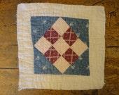 Antique Quilt Piece   Vintage Quilt Piece    Old Quilt PIece    Cutter Quilt Piece