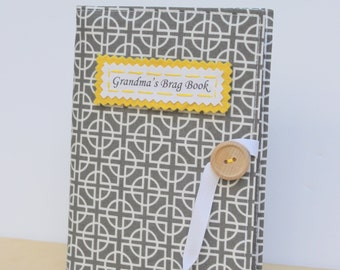 custom photo album in gray and yellow baby book
