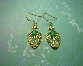 Vintage Gold Plated Sterling Silver Earrings and Green Chalcedony Stones