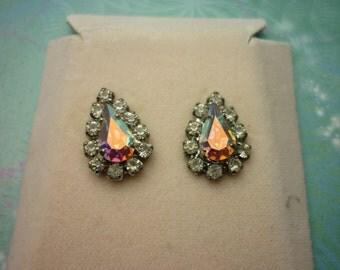 Vintage Crystal Earrings - Tear Drop AB Crystals