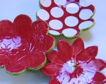 poinsettia pottery Dish Set :) 3 ceramic serving flowers, whimsical hostess gift, candleholders, polka-dots, ring dish, soap dish