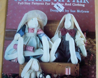 Leisure Arts Craft Leaflet A HARE AFFAIR full size bunnies and clothing sewing pattern