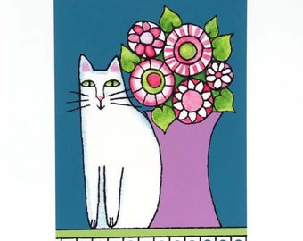 Whimsical Cat Art Print/ White Kitty with Garden Flowers by Susan Faye