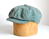 Newsboy Hat - Men's Green Tweed Newsboy Cap - Made to Order - 3 Weeks to Ship
