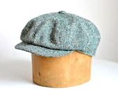 Men's Green Tweed Newsboy Cap - Newsboy Hat - Made to Order