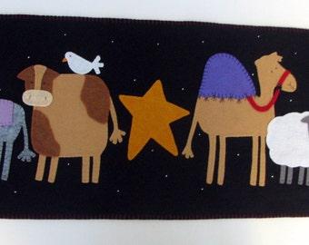 "Very Large 64"" x 17-1/2"" Primitive -Folk Art - Nativity Scene - Wool Felt Table Runner - Penny Rug - Wool Applique - Christmas Runner - Wool"