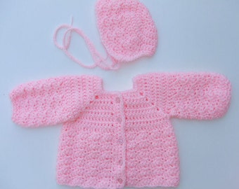 Crochet Baby Girl Sweater and Bonnet Set, You Pick Size and Color