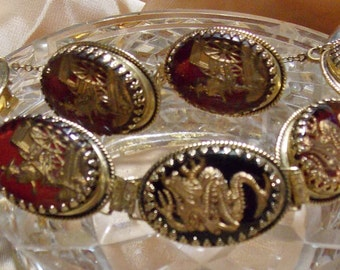 Vintage Whiting Davis Bracelet Earrings Oriental RARE