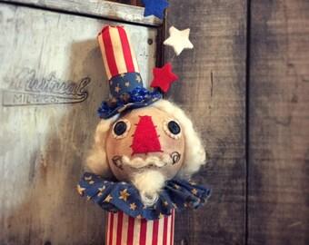 OOAK Uncle Sam Fourth of July Folk Art Doll Make-do Decoration