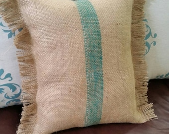Reclaimed burlap coffee bean bag pillow with teal stripe and fringe