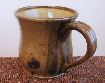 Huge Pottery Coffee Mug - Earthy Brown Large Stoneware Ceramic Cup 20 oz.
