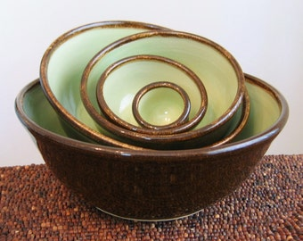 Ceramic Nesting Bowls in Chocolate Pear - Large Wedding Gift Set - Stoneware Pottery Stacking Bowls
