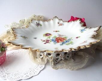 Vintage Dresdent Austrian Floral Dessert Stand Compote Weddings Bridal