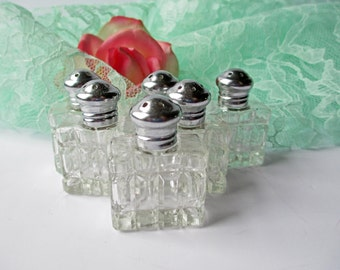 Vintage I W Rice Crystal Miniature Salt & Pepper Shakers Set of Six