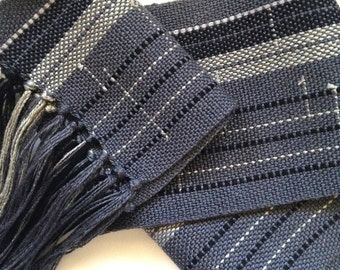 handwoven scarf in bamboo and shades of grey