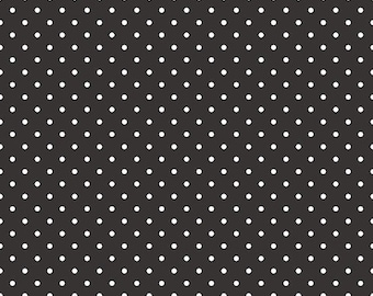 20% OFF White Swiss Dots on Black  - 1/2 Yard