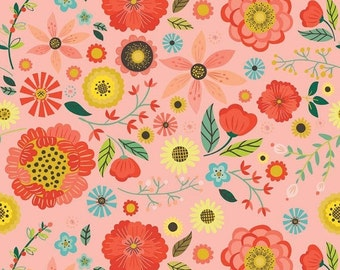 SALE Roots & Wings Coral Main - 1/2 Yard